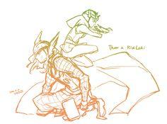 The one where Loki sits like a Kung-Fu master on Thor's back.