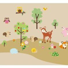 ... WANDSTICKER Waldtiere - Wald - Bäume - Kinderzimmer Deko - aus USA