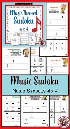 music lessons  |  Music Games | MUSIC THEMED SUDOKU 4x4 using North American and British Terminology! ♫ CLICK through to preview or save for later! ♫   #musiced   #elmused   #musiceducation