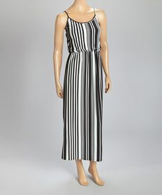 Another great find on #zulily! Black & White Stripe Blouson Maxi Dress #zulilyfinds