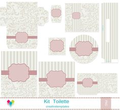 Kit Toilette Rosa e bege floral mod:849 - **Kit Toalete | Creativstemplates