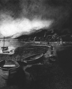The village of Bosham in West Sussex on a stormy afternoon. This print is part of an ongoing series of work that documents the whole of the South Downs Way from west to east Sussex.