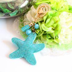 2015 Mode Charme Strass en cuir Étoiles de Mer Gland Pendentif porte-clés alliage sac Clé Support de la bague pour les Femmes Cadeau Souvenir Bijoux