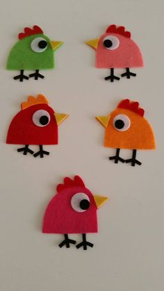 70 Pieces 10 Set Die Cut Felt Comic Bird от SmyrnaFeltCraft