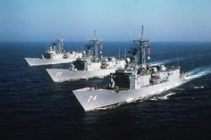 The U.S. Navy guided missile frigates USS Oliver Hazard Perry (FFG-7), USS Antrim (FFG-20) and USS Jack Williams (FFG-24) underway.