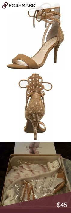 """NWB. Jessica Simpson Gladiator Sandal New in box! Size 7M *Feel free to request additional photos* *Microsuede *Synthetic Sole Color is a honey brown Shaft measures approx 5.25"""" Heel measures 3.25  .25"""" platform  Offers welcome! Jessica Simpson Shoes Heels"""
