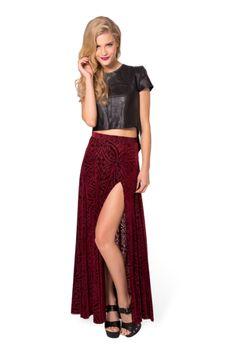 Burned Velvet Wine Split Skirt › Black Milk Clothing