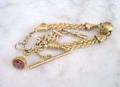 Antique Bracelet Albertine / Albertina Gold Watch Chain