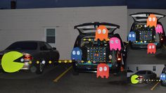 Pacman Trunk or Treat. Our kids love the movie, Pixels, so we decided to do a Pacman theme for the trunk or treat we participated in this year. We had asked my cousin, who also went, to borrow his car and park beside us to combine our vehicles to complete our scene. The kids loved it as well as the trunk or treaters. Very cheap to make...we just bought all the poster board from the dollar store and cut everything out. Can't wait to come up with ideas for next year!!