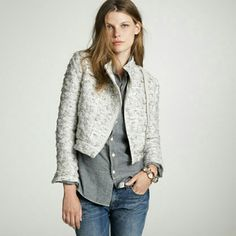 Jcrew Boucle Jacket Metallic boucle moto jacket. An uptown spin on a downtown cool: the motorcycle jacket in shimmering mauve and silver metallic cloud loop boucle (handwoven by a french haute couture studio) and faced in 100% silk. Nylon/wool/silk. Short collar. Import. Dry clean. Worn twice. Excellant condition J. Crew Jackets & Coats