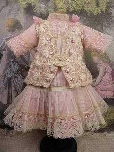 Wonderful French silk and lace couturier antique doll dress for Jumeau, Bru, Steiner, Gaultier or other Bébé from Stairwaytothepast on Ruby Lane