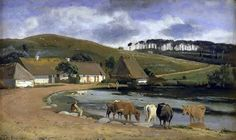 J.Th. Lundbye: Cows watering at a pond - 1844.