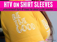 HTV on Shirt Sleeves Silhouette Cameo Tutorials, Silhouette Projects, Heat Press Vinyl, Heat Transfer Vinyl, Silhouette School Blog, Silhouette Studio, Plate Wall Decor, Vinyl Shirts, Shirt Sleeves
