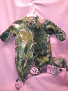 pretty in pink camo fleece romper,hat booties with handmade flowers and bow