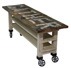 Gather Reclaimed Wood Lettered Kitchen Island Or Counter Height Dining Table On…