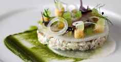 Cornish mackerel tartare, seaweed salsa verde and pickled turnip at Jason Atherton's Pollen Street Social in London