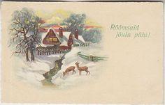 Õnnitlus; talvepilt metskitsedega; postkaart enne 1940