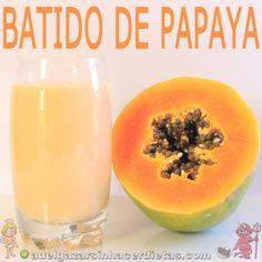 Receta saludable de BATIDO DE PAPAYA bajo en calorías y colesterol (bajo en grasas malas), apto para diabéticos, veganos e intolerantes a la lactosa. COCINA FÁCIL Y SANA. Incluye vídeo.