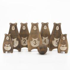 Wooden Bowling Toy (Bear Family) #designedinhk #makeitworkstudio #wooden #bowlingtoy #bear #toys #madeinhongkong