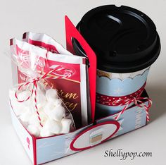 Hot chocolate kit in carrying case by Popsicle Toes using Lifestyle Crafts dies #box #template #lifestylecrafts