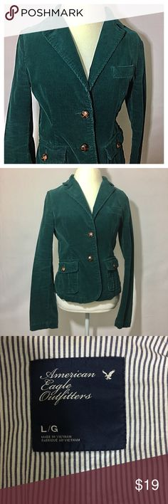 American Eagle Outfitters corduroy blazer EUC. Forest green color. Colors may vary slightly to lighting and photos. No holes, rips or stains. ❌Smoke and pet free home. ⚡️Same/next day shipping. 💲Save by bundling or make a reasonable offer through the offer button. 🚫No trades or modeling. 📦Wrapped and shipped with care. 🎁Includes free gift. American Eagle Outfitters Jackets & Coats Blazers