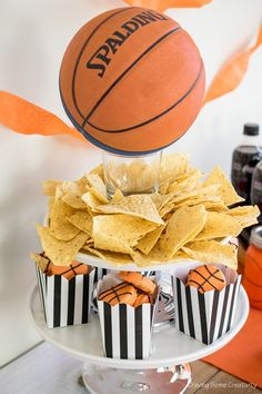 Need some fun crafts and party decorations for a DIY basketball party? Basketball Party, Basketball Decorations, Sports Party, Basketball Tickets, Basketball Design, Basketball Season, Kids Sports, Crafts For Boys, Diy For Kids