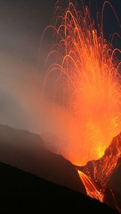 cool Volcano Stromboli, Aeolian Islands, North Of Sicily, Italy...