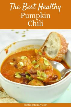Make a big batch of Healthy Chili for this fall. Pumpkin and turkey sausage. Your family will love delicious pumpkin chili with turkey sausage. You will love all the vegetable goodness packed in the pumpkin and the kidney beans. Simple to put together, and quick to cook you will have dinner on the table in no time. Pumpkin Chili, Best Pumpkin, Healthy Pumpkin, Fall Dinner Recipes, Dinner Recipes Easy Quick, Pumpkin Recipes, Soup Recipes, Healthy Chili, Buttermilk Recipes