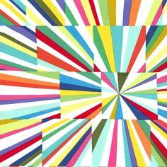 PC6309 Tara's fireworks multi geometrics lines kaleidoscope squares printed cotton couture