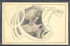 QM069 ART NOUVEAU MM VIENNE HRUBY LADY HEAD Ornaments in FRAME FLOWERS