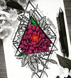 Geometrical rose flower peony colorful mandala tattoo design drawn by Saphiriart Mandala Art, Colorful Mandala Tattoo, Mandala Arm Tattoo, Mandala Tattoo Design, Flower Mandala, Tattoo Designs, Et Tattoo, Tattoo Drawings, Art Drawings