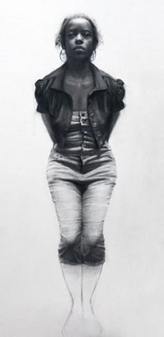Artist: Steven Assael {figurative female african-american black young woman pencil drawing detail} <3