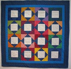 Trying to find a pattern to use the message squares from my wedding for our quilt....mine will be all white with different fabric textures/patterns...this might work...