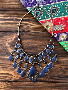 #Afghan #lapis #lazuli #necklace, #Bohemian style, #Navajo jewelry, #Vintage #ethnic jewelry, #drop necklace, #Kuchi jewelry, #Antique #Greek style