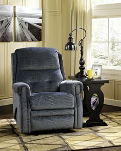 Signature Designs By Ashley Meadowbark Navy Glider Recliner