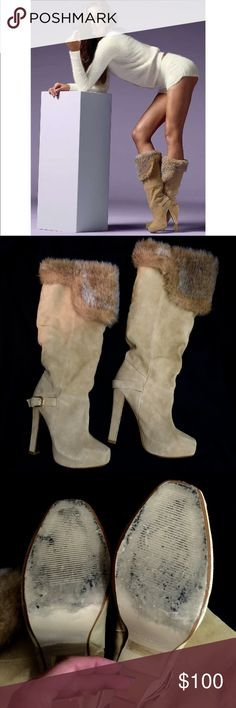 """Colin Stuart VS Faux Fur Boots Size 9B (narrow width) - these splendid faux fur cuff boots are sexy as hell, totally on trend and are in excellent shape. Wear on the bottoms but practically no wear on heels or toes. Owner is a news anchor so mostly worn in the studio. Can be worn uncuffed for over the knee sexiness or pull the fur all the way down for a thicker look. Imported suede. 5"""" heel with 1"""" platform. Pull on styling. Wide calf. First pic via VS. No box. Colin Stuart Shoes Heeled…"""