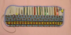 """Wrap for all but one of my crochet hooks, of all """"nations"""". There are US, British, Japanese, German, and some of unidentified """"nationality"""" ;-)  It is lined with polar fleece, as the pouch for knitting needles. On each side it has a little pocket for Công tắc chạm cảm ứng, {Bán công tắc cảm ứng Soloha tại Hà Nội