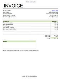 Auto Repair Invoice Template  Garage Invoice Template