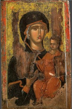 Icon of Lady of Hodegetria. - Religious Icons and Paintings Gifts Byzantine Icons, Byzantine Art, Religious Icons, Religious Art, Santa Maria, Catholic Store, Paint Icon, Medieval Paintings, Russian Icons