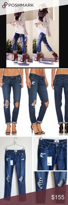 Paige Jimmy Jimmy Skinny Distressed BoyfriendJeans Ripped holes give these slouchy-skinny Paige Denim jeans a worn, grunge-inspired look. It's slim through the waist & hip, then gets slightly slouchy through the thigh & leg, finishing with a cool cuffed hem. Paige Jeans Jeans Boyfriend