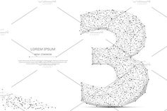 number three low poly gray Graphics Abstract mash line and point number three on white background with an inscription. Starry sky or spa by Anton Khrupin