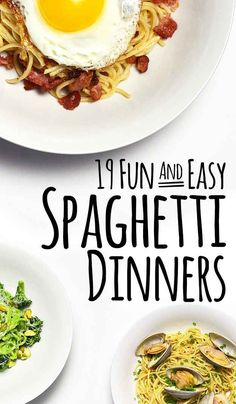 19 Delicious Spaghetti Dinners // Spaghetti is by and far one of my favorite foods of all time. I'm not a big carb eater, so I generally get my carbs with pasta. Healthy Food Recipes, Great Recipes, Cooking Recipes, Favorite Recipes, Spaghetti Dinner, Spaghetti Recipes, Spaghetti Squash, Crab Spaghetti, Pasta Recipes