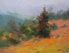 Autumn painting forest, Green orange landscape art, Landscape oil painting, Modern nature painting, Landscape canvas art by Pysar on Etsy