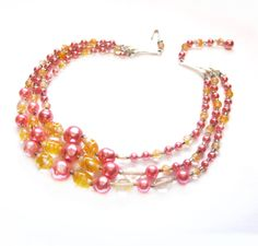 Retro Pink Pearl, Orange Glass Bead Necklace