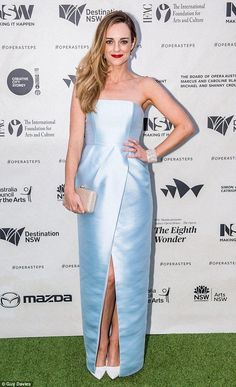 Stunning: Home And Away star Penny McNamee was dressed to impress for the opening night of Opera Australia's production of Sydney Opera House - The Opera (The Eighth Wonder) on Friday Home And Away Cast, Strapless Gown, Opening Night, Female Images, Female Characters, Role Models, Dress To Impress, Night Out, Classy