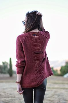 faux leather leggings and comfy sweater