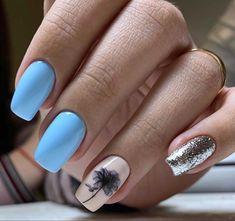 Light Blue Nails, Blue Acrylic Nails, Badass, Beauty, Beauty Illustration