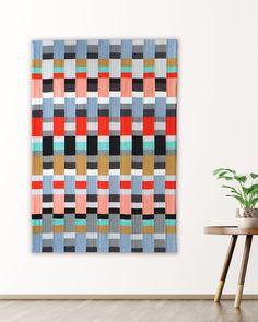 Strip Weave quilt pattern modern stripe and checked quilt Bauhaus Textiles, Bauhaus Art, Bauhaus Colors, Modern Quilt Patterns, Weaving Projects, English Paper Piecing, Quilting Designs, Fiber Art, Crafty
