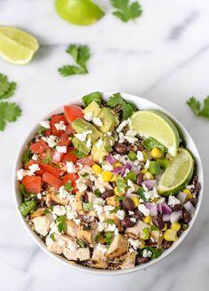 Copycat Chipotle Burrito Bowl with Chicken and Quinoa #glutenfree