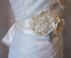 Elegant Ivory Bridal Sash Rhineston and Pearl by TheRedMagnolia